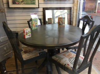 SOLD - a dining room table and chair set. Chairs also re-upholstered